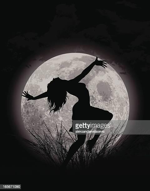 ilustraciones, imágenes clip art, dibujos animados e iconos de stock de moon de baile - luna llena