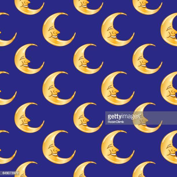 Moon Faces Seamless Pattern