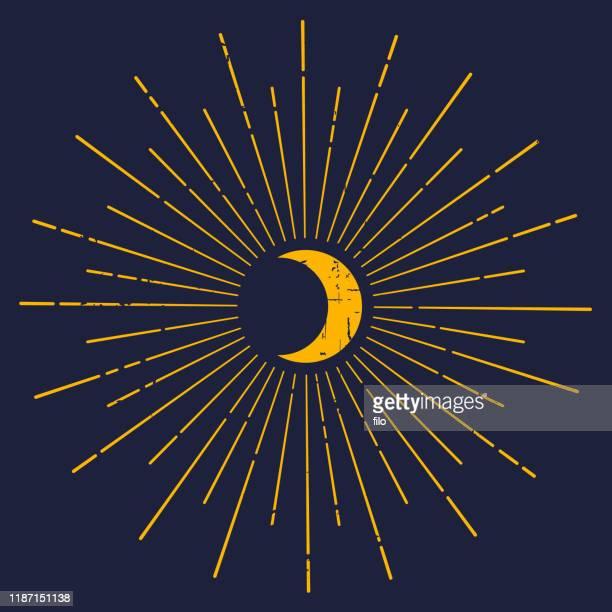 moon glow starburst - ethereal stock illustrations