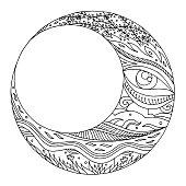 moon hand drawing vector  illustration design