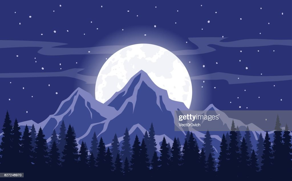 Moon, Moonlight, Rocky Mountains  and Pine trees forest Background Vector Illustration. Night Sky Stars Landscape
