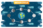 Moon phase cycle vector illustration diagram poster