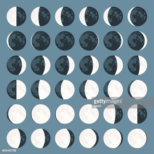 moon phases. - volcanic crater stock illustrations, clip art, cartoons, & icons