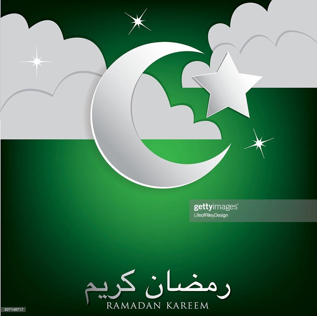"""Moon, stars and cloud """"Ramadan Kareem"""" (Generous Ramadan) card i"""