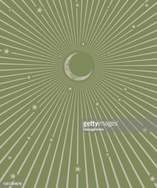 月と星と月光 - カーキグリーン点のイラスト素材/クリップアート素材/マンガ素材/アイコン素材