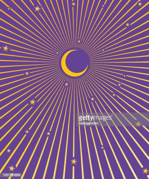 illustrazioni stock, clip art, cartoni animati e icone di tendenza di luna, stelle e raggi di luna - ambientazione tranquilla