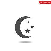 Moon with stars symbol icon