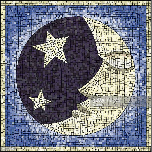 moon-face mosaic - man in the moon stock illustrations, clip art, cartoons, & icons