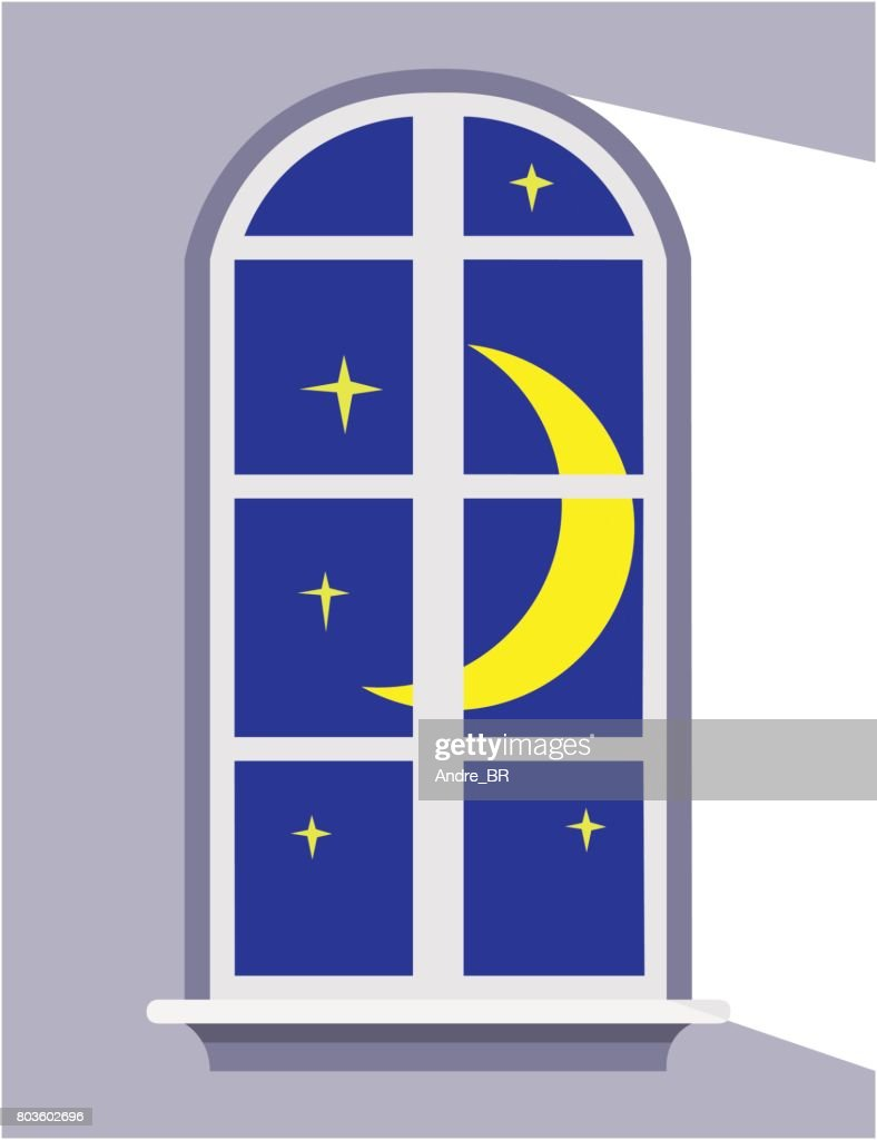Moonlight night window.