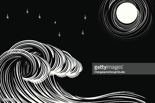 moonlit waves - woodcut stock illustrations