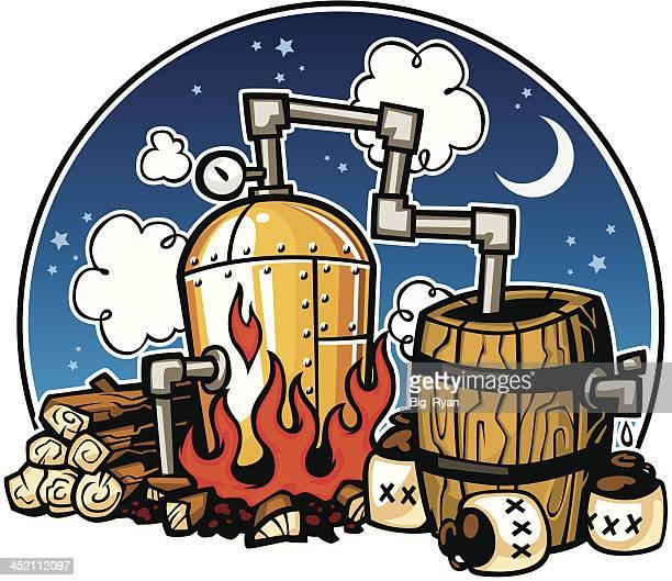 moonshine distillery - distillation stock illustrations, clip art, cartoons, & icons
