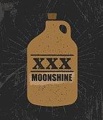 Moonshine Jug Pure Original Corn Spirit Creative Artisan Illustration. Raw Homemade Alcohol Creative Sign