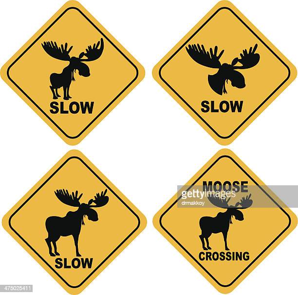 moose crossing sign stock illustrations and cartoons getty images