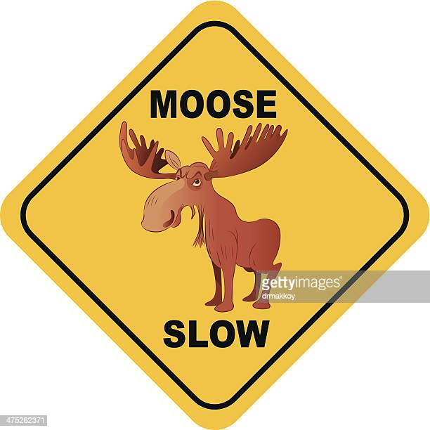 moose crossing sign - animal crossing sign stock illustrations