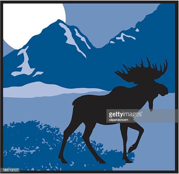 moose silhouette - elk stock illustrations