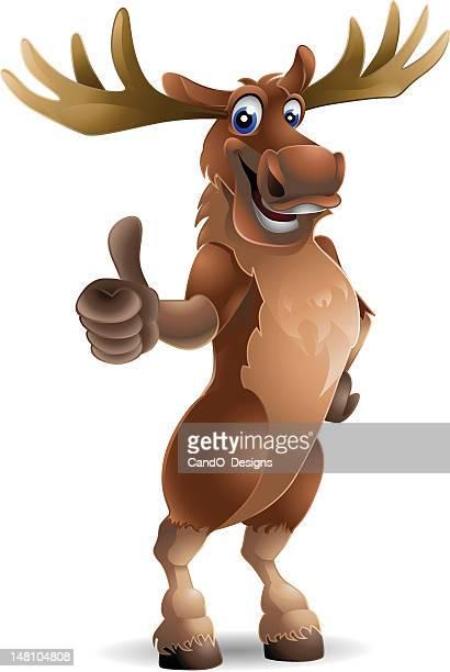 moose: thumbs up! - elk stock illustrations