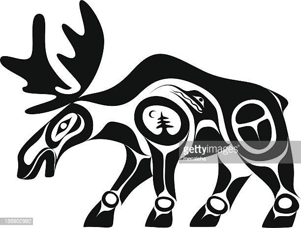 moose - tribal art stock illustrations