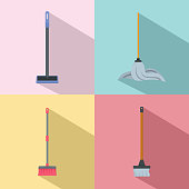 Mop cleaning swab icons set, flat style