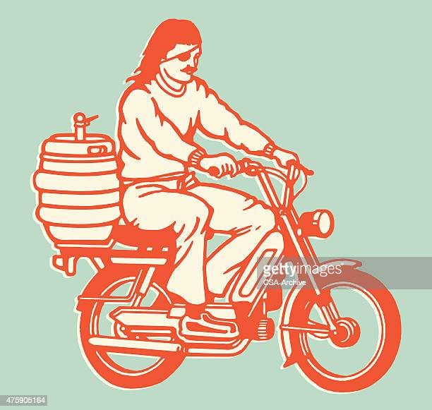 Moped Guy With Keg on the Back