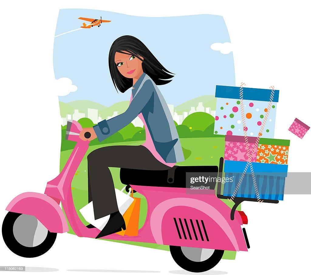 Moped Shopping : stock illustration