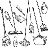 Mops. Set of cleaning tools.