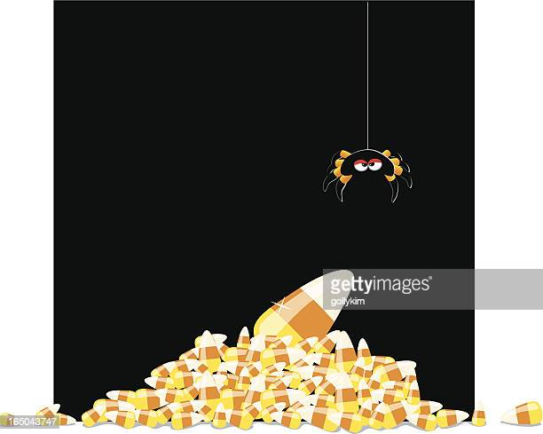 more candycorn! - black widow spider stock illustrations, clip art, cartoons, & icons