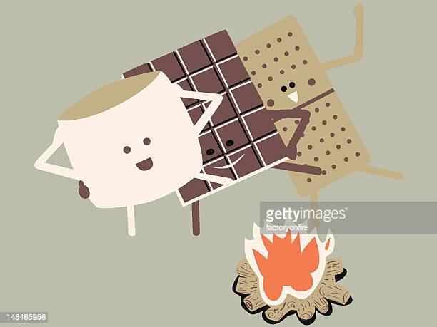 s'more conga line - conga dancing stock illustrations, clip art, cartoons, & icons