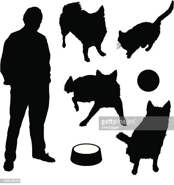 more silhouettes variety 01 (vector illustration) - dog bowl stock illustrations, clip art, cartoons, & icons