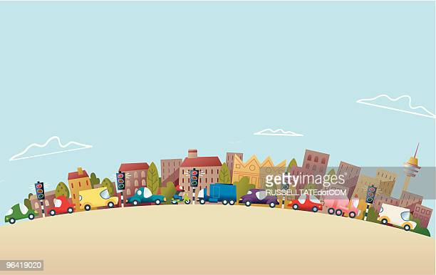 more traffic - queuing stock illustrations