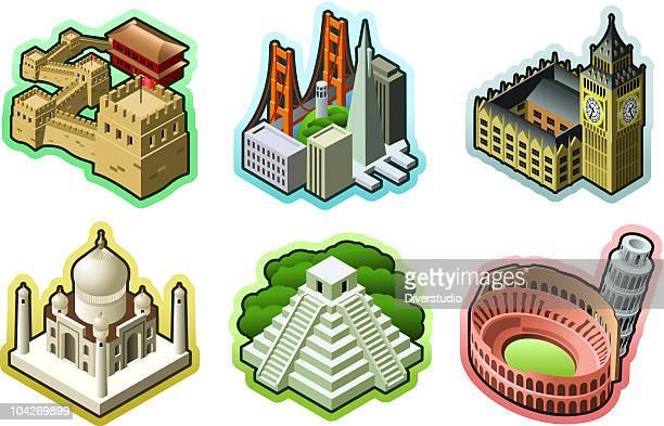 ilustraciones, imágenes clip art, dibujos animados e iconos de stock de iconos de más destinos de viaje - granmurallachina