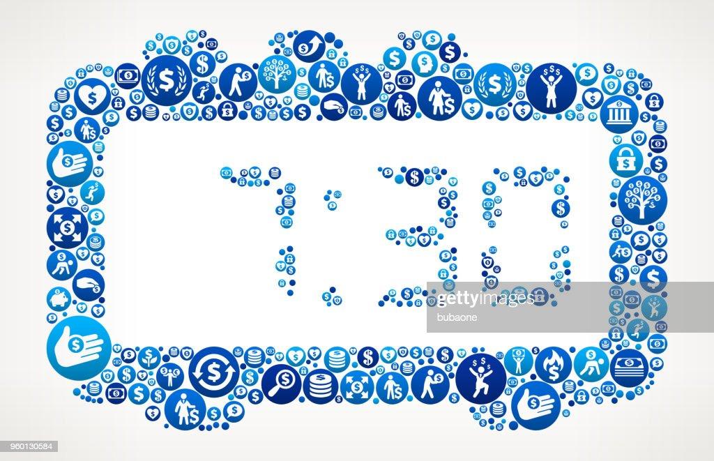 Morgen Wecker Geld blaues Symbol Muster Hintergrund : Stock-Illustration