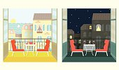 Morning and evening on the balcony.Flat style vector illustration.