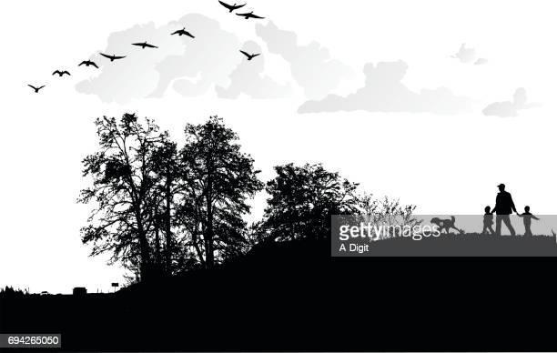 morning family walk - tall high stock illustrations