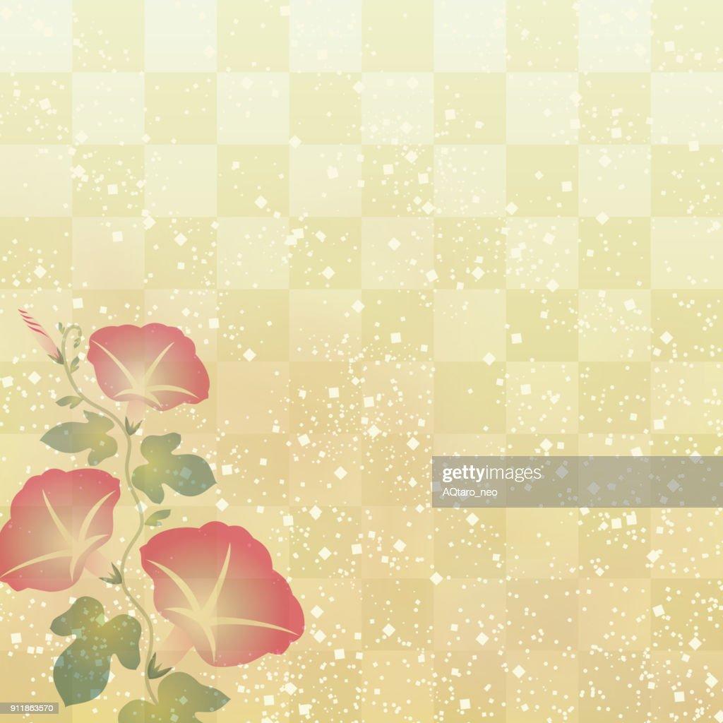 Morning glory on Japanese traditional background