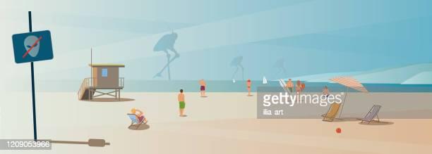 illustrations, cliparts, dessins animés et icônes de invasion matinale sur la plage de santa monica. - station de vacances