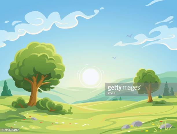 morning landscape - tree stock illustrations, clip art, cartoons, & icons