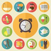 Morning time and occupation icons set. Daily routine