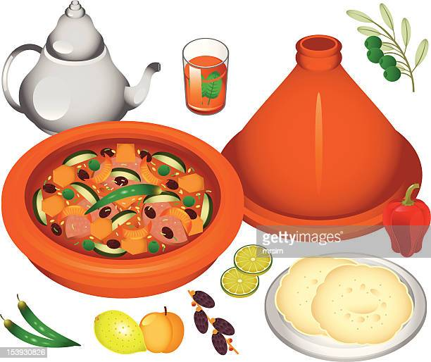 moroccan cuisine - morocco stock illustrations, clip art, cartoons, & icons
