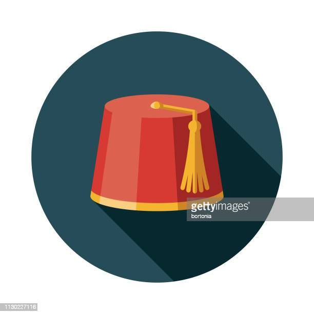 moroccan fez hat icon - morocco stock illustrations, clip art, cartoons, & icons