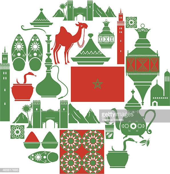 ilustraciones, imágenes clip art, dibujos animados e iconos de stock de conjunto de iconos de estilo marroquí - moruno