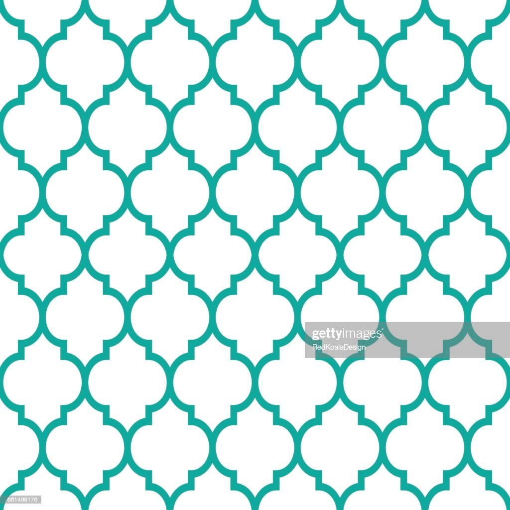 Moroccan tiles design, seamless turqoise pattern, geometric background