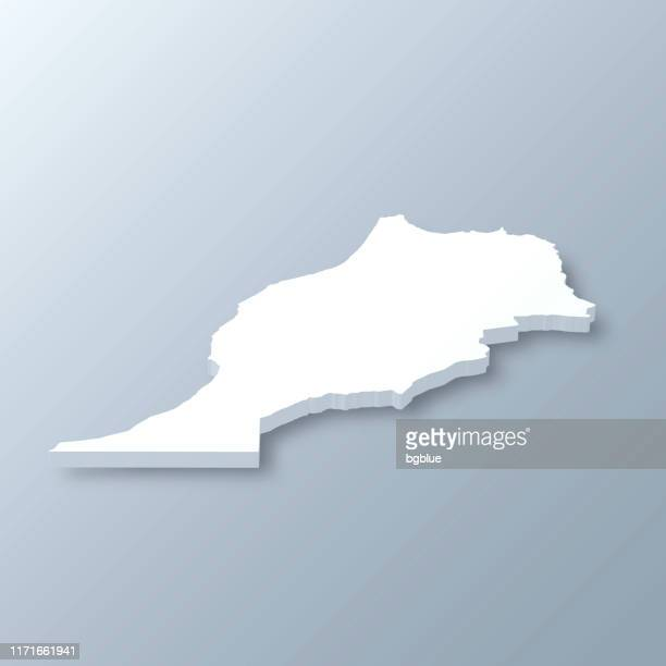 morocco 3d map on gray background - morocco stock illustrations, clip art, cartoons, & icons