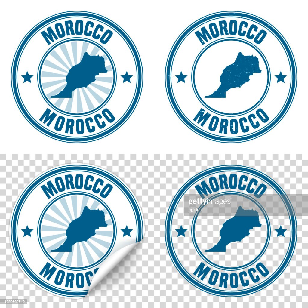 Morocco - Blue sticker and stamp with name and map : stock illustration