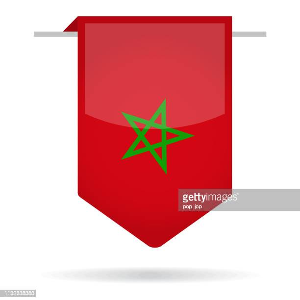 Morocco - Bookmark Flag Vector Glossy Icon