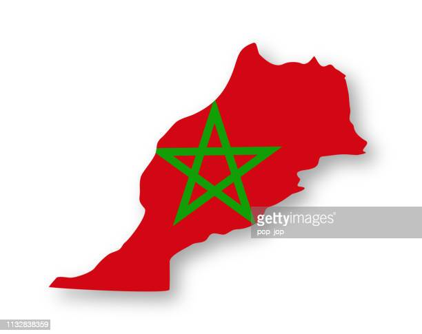 morocco - contour country flag vector flat icon - morocco stock illustrations, clip art, cartoons, & icons