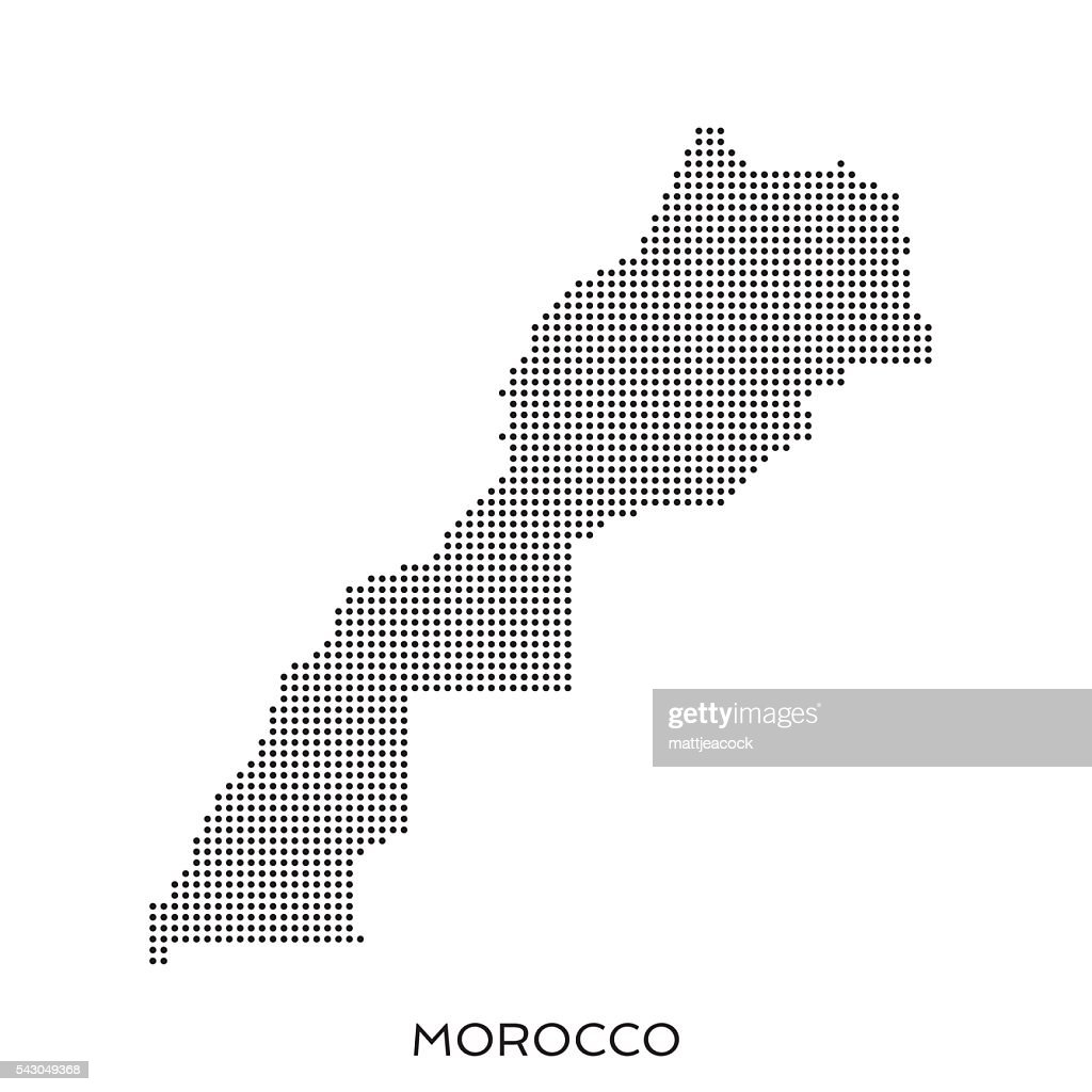 Morocco dot halftone pattern map : stock illustration