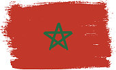 Morocco Flag Vector Hand Painted with Rounded Brush