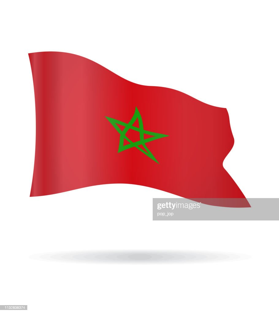 Morocco - Flying Banner Flag Vector Glossy Icon : stock illustration