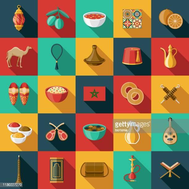 morocco icon set - morocco stock illustrations, clip art, cartoons, & icons