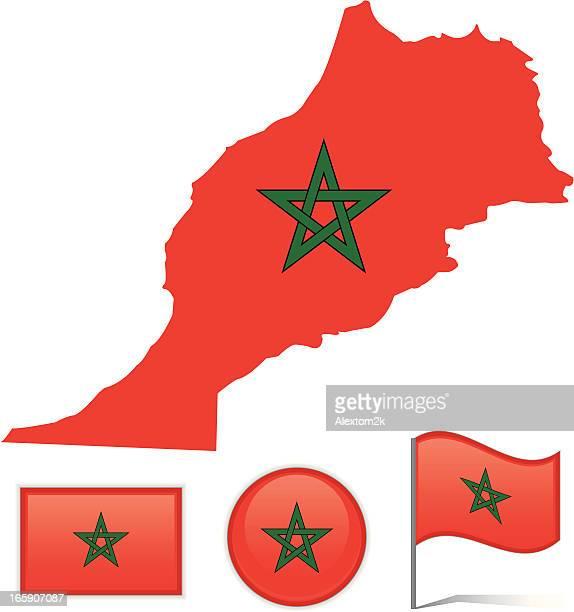 Morocco map & flag